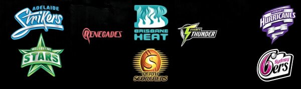 logos of the teams that compete in the big bash league