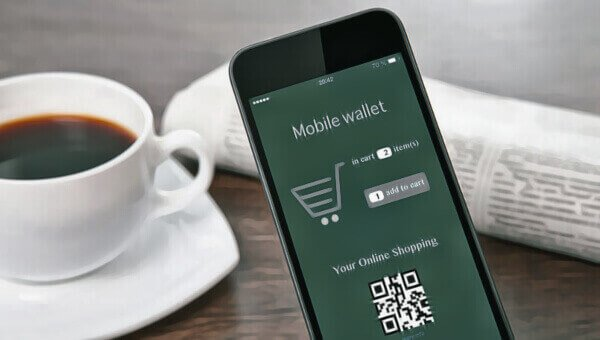 a phone showing mobile wallet