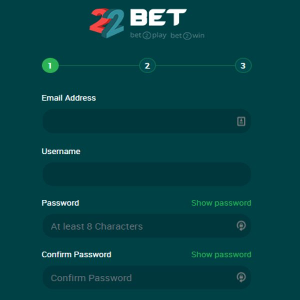 22bet password and email information