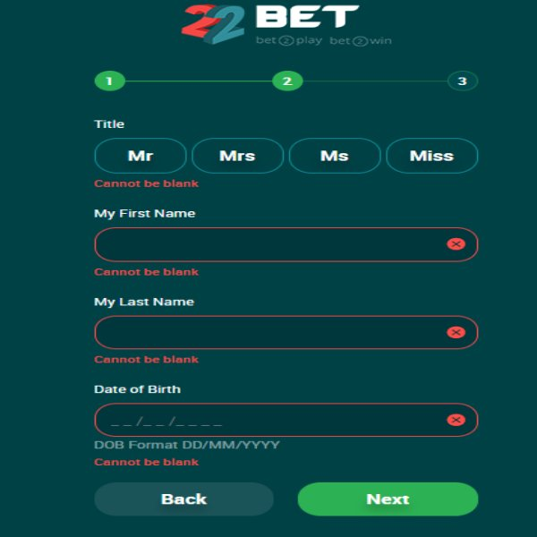 22bet signing up page