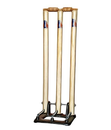 CW Professional Cricket Match Wicket Set with Stumps Bails Stand Base