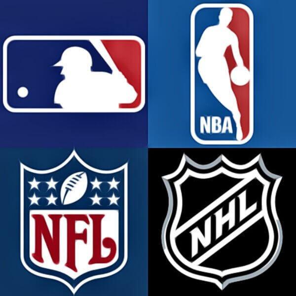 the logo of four major sports in America