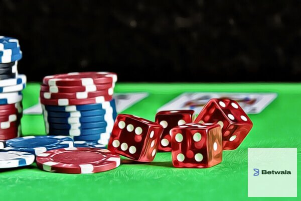 Chips and dice used in Casino