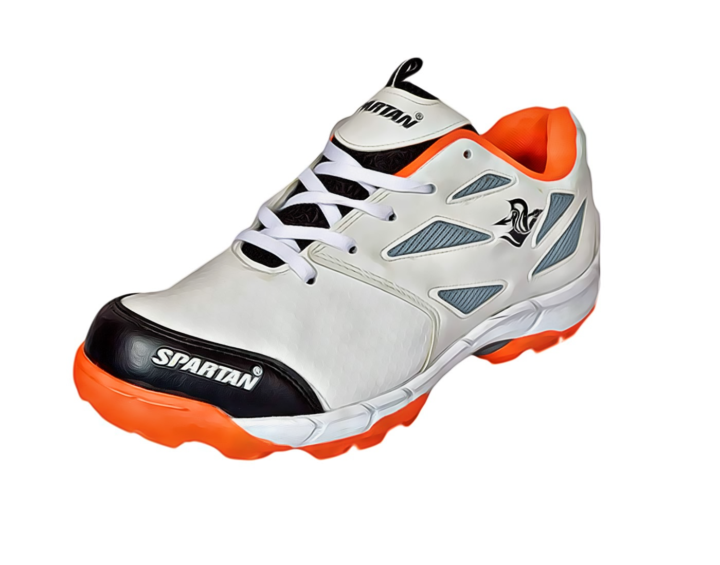 SPARTAN Plus White Black Cricket Shoes