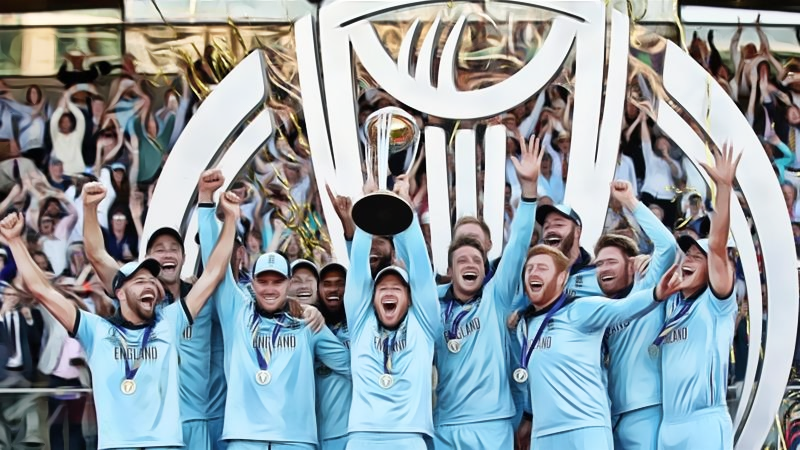 England Cricket Team Lifting the ICC World Cup Trophy