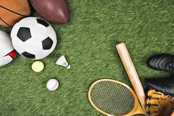 a picture of a basketball, soccer ball, tennis, racket, rugby ball, and a bat